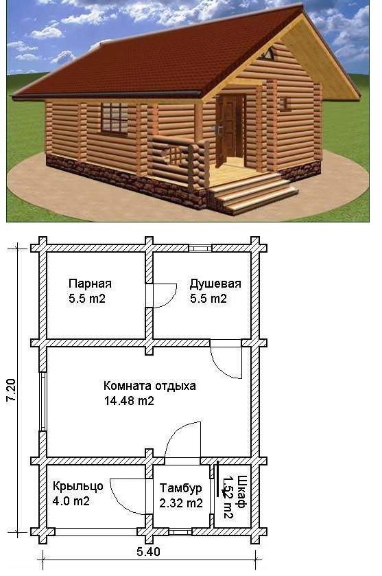 Проекты бань из оцилиндрованного бревна - 7.2х5.4 м