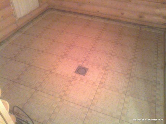 Теплые полы в бане в помывочной